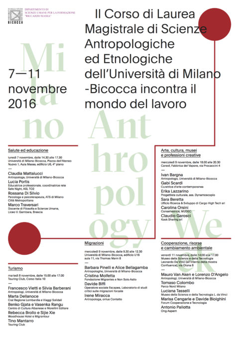 Milano Anthropology Week- (7-11 novembre 2016-Università Milano Bicocca)