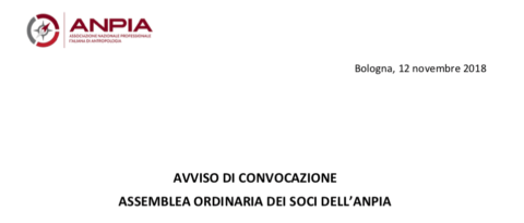 ASSEMBLEA ORDINARIA DEI SOCI DELL'ANPIA