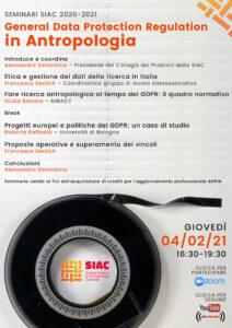 Webinar SIAC: GDPR ed etica nella ricerca